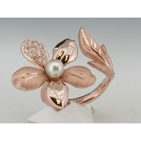Custom Flower Ring with Pearl  William Phelps Custom Jeweler Naples, FL
