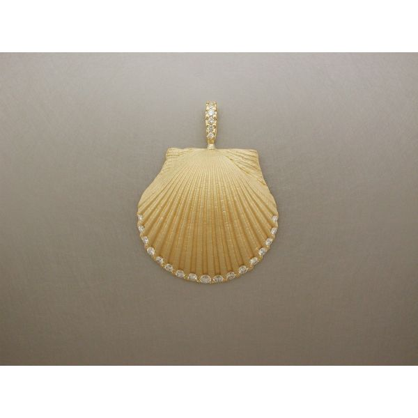 Scallop Shell Pendant Large with Dia Edge DB William Phelps Custom Jeweler Naples, FL