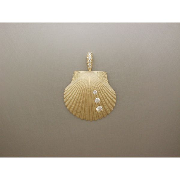 Scallop Shell Pendant Med 3 Dia Row DB William Phelps Custom Jeweler Naples, FL