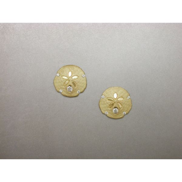Sand Dollar Earrings 15 mm 5 Dia Post Backs William Phelps Custom Jeweler Naples, FL