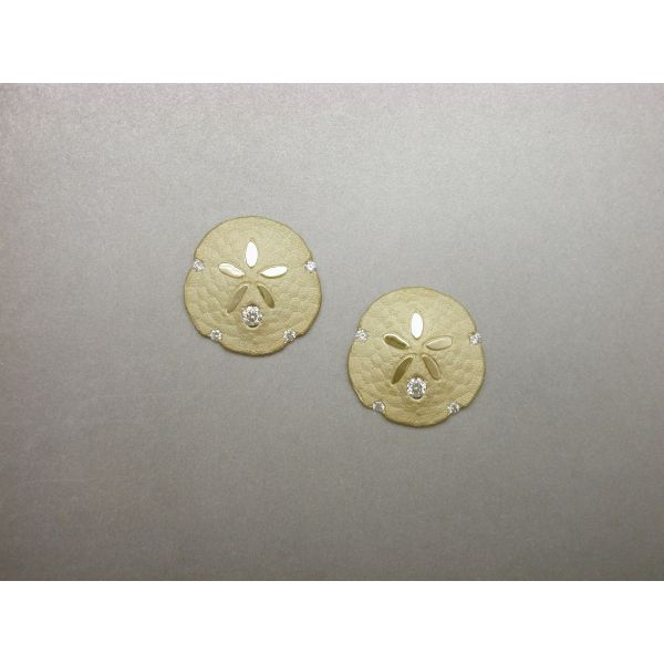 Sand Dollar Earrings Post 5 Dia  William Phelps Custom Jeweler Naples, FL