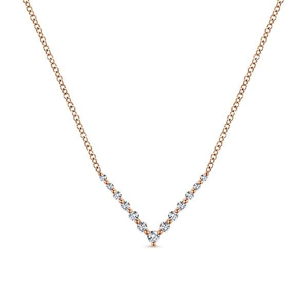 Rose Gold Diamond Bar Necklace Polly's Fine Jewelry N. Charleston, SC