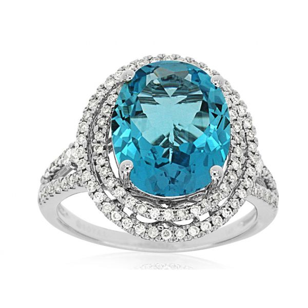 White Gold Blue Topaz Ring Polly's Fine Jewelry N. Charleston, SC