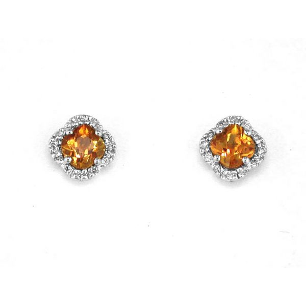 White Gold Citrine Studs Polly's Fine Jewelry N. Charleston, SC