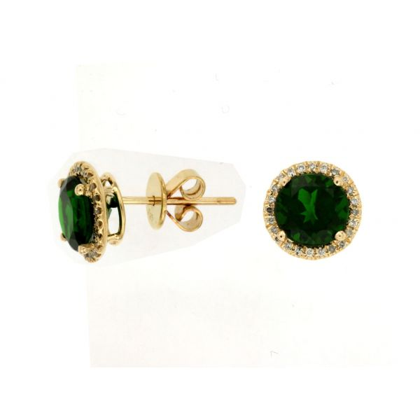 Yellow Gold Chrome Diopside Studs Polly's Fine Jewelry N. Charleston, SC
