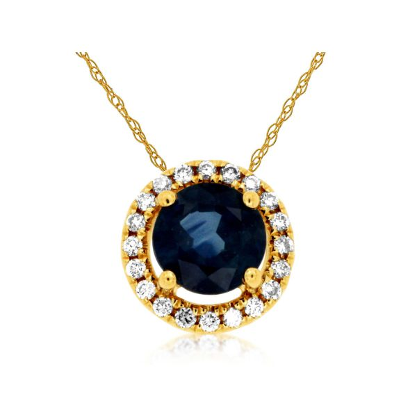 Yellow Gold Sapphire & Diamond Necklace Polly's Fine Jewelry N. Charleston, SC