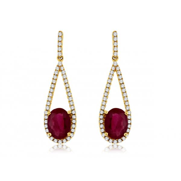Yellow Gold Ruby Earrings Polly's Fine Jewelry N. Charleston, SC