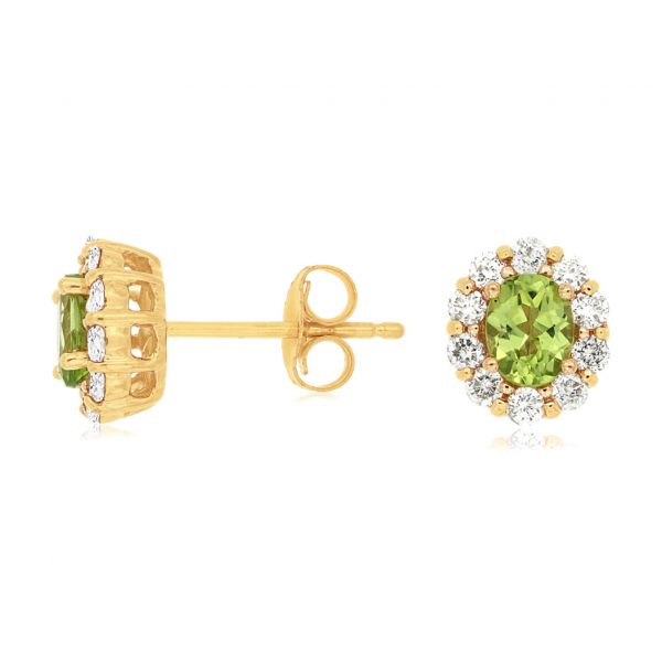 Peridot & Diamond Halo Studs Polly's Fine Jewelry N. Charleston, SC