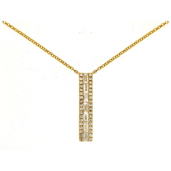 Yellow Gold Vertical Bar Necklace Polly's Fine Jewelry N. Charleston, SC