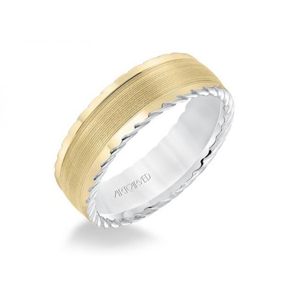 Two Tone Carved Wedding Band Polly's Fine Jewelry N. Charleston, SC