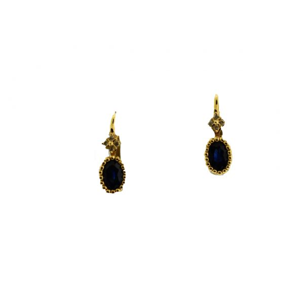 Sapphire and Pave Diamond Drop Earrings  Polly's Fine Jewelry N. Charleston, SC