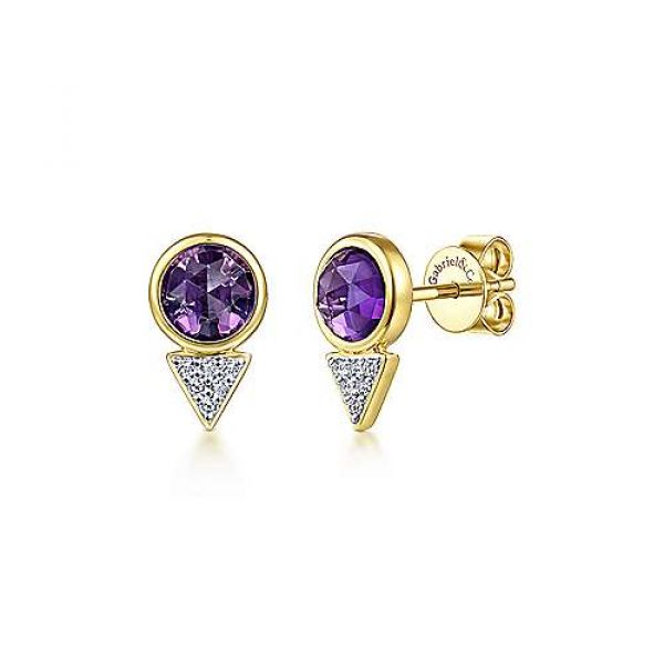 Amethyst & Diamond Cluster Studs Polly's Fine Jewelry N. Charleston, SC