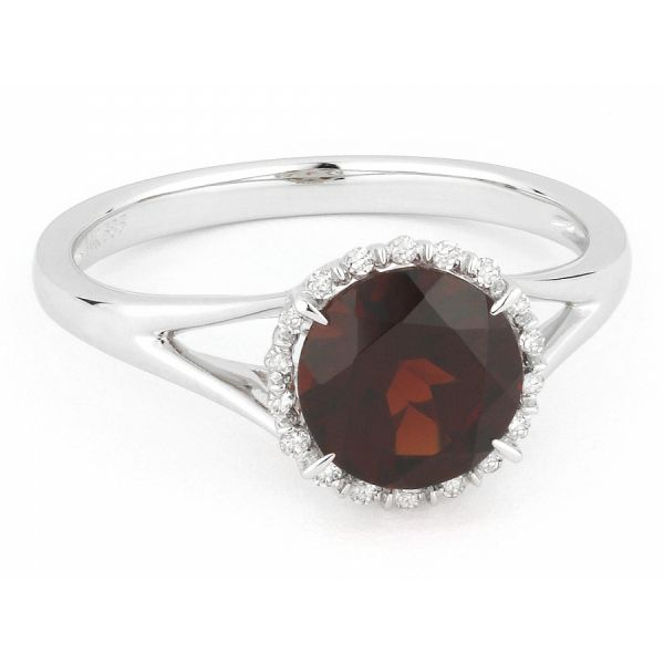 White Gold Garnet Halo Ring Polly's Fine Jewelry N. Charleston, SC