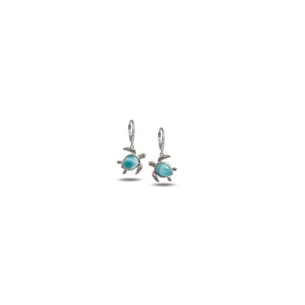 Silver Larimar Turtle Earrings Polly's Fine Jewelry N. Charleston, SC