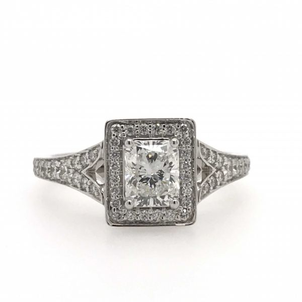 14k White Gold 1.00ctw Diamond Engagement Ring With 0.75ctw Radiant Center Robert Irwin Jewelers Memphis, TN