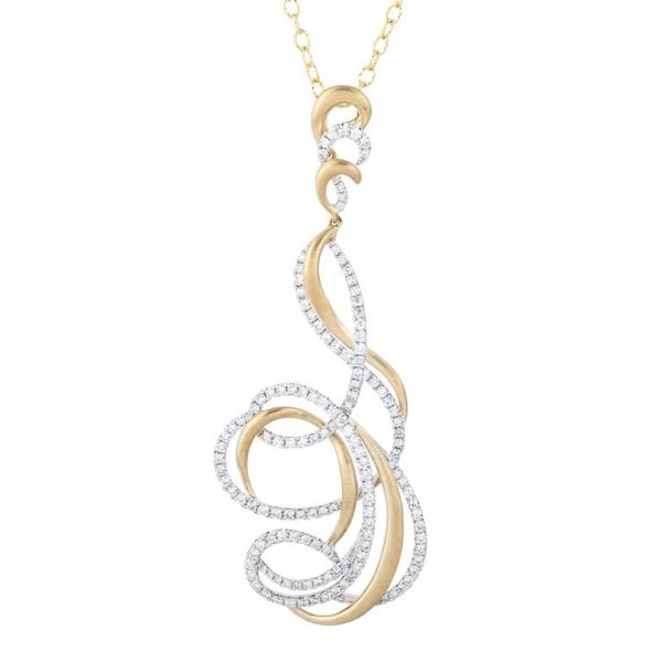 Florence Diamond Pendant Necklace - 18K Yellow & White Gold Robert Irwin Jewelers Memphis, TN