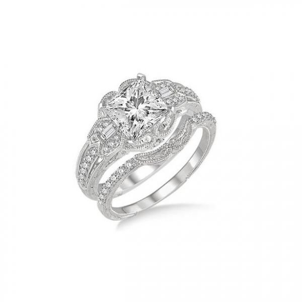 ff368a02a ... 14k White Gold. Results. 1 1/10 Ctw Diamond Bridal Set with 1 Ctw Princess  Cut Engagement Ring and