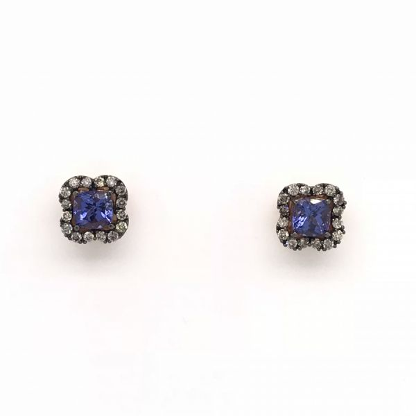 14k Rose Gold 1.26tw Tanzanite and Diamond Earrings Robert Irwin Jewelers Memphis, TN