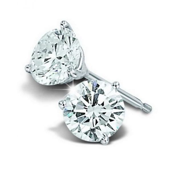 14k White Gold 1.00ctw Diamond Stud Martini Set Earrings Robert Irwin Jewelers Memphis, TN