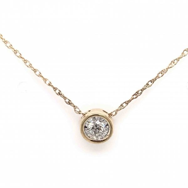 14k Yellow Gold .10ctw Diamond Bezel Solitaire Pendant Robert Irwin Jewelers Memphis, TN