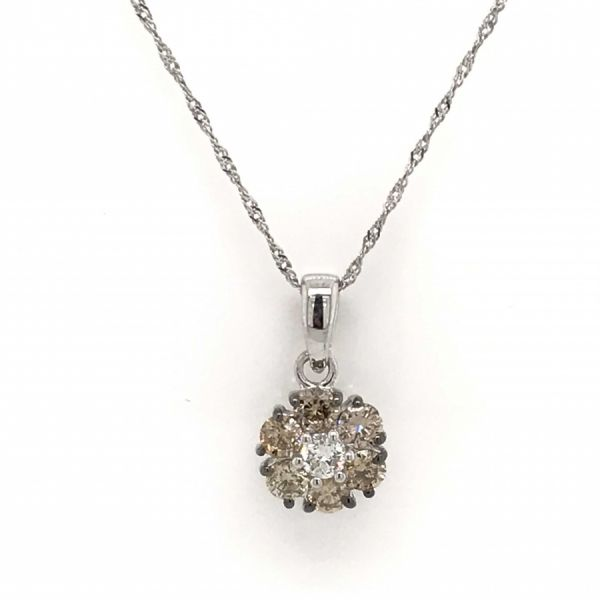 14k White Gold 0.56ctw Chocolate and White Diamond Pendant Robert Irwin Jewelers Memphis, TN