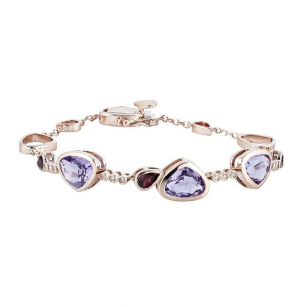 14k Rose Gold 4.24ctw Diamond, Amethyst, and Garnet Fashion Bracelet Robert Irwin Jewelers Memphis, TN
