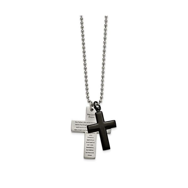 Stainless Steel Polished Black IP-Plated Lord's Prayer Cross Necklace Robert Irwin Jewelers Memphis, TN