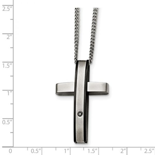 Stainless Steel Polished/Black IP-Plated 1pt.Diamond Cross Necklace Image 2 Robert Irwin Jewelers Memphis, TN