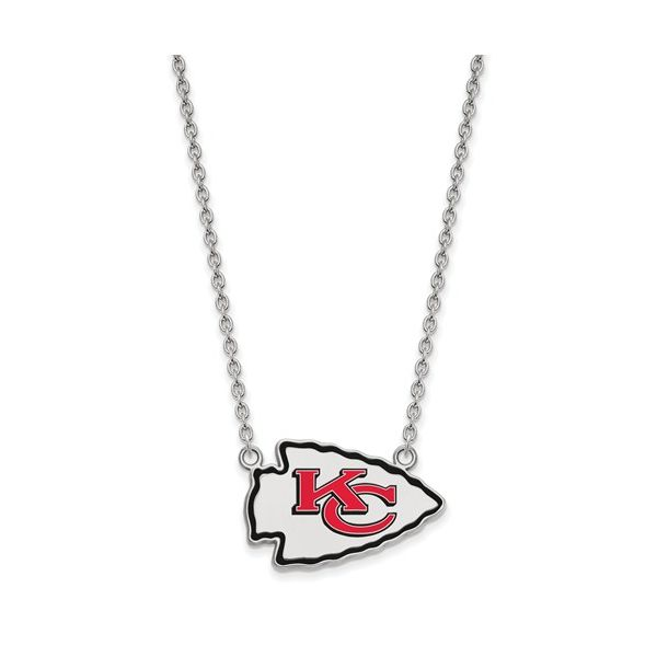 Sterling Silver Kansas City Chiefs  Large Enamel Pendant With Necklace Robert Irwin Jewelers Memphis, TN