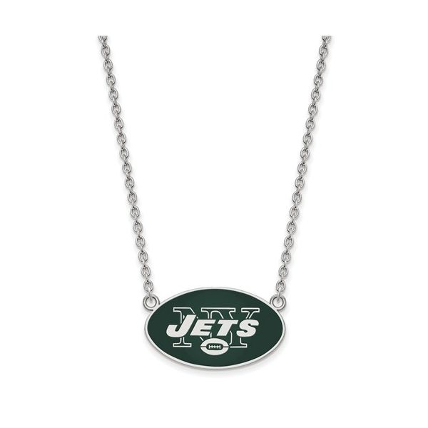 Sterling Silver New York Jets Large Enamel Pendant With Necklace Robert Irwin Jewelers Memphis, TN
