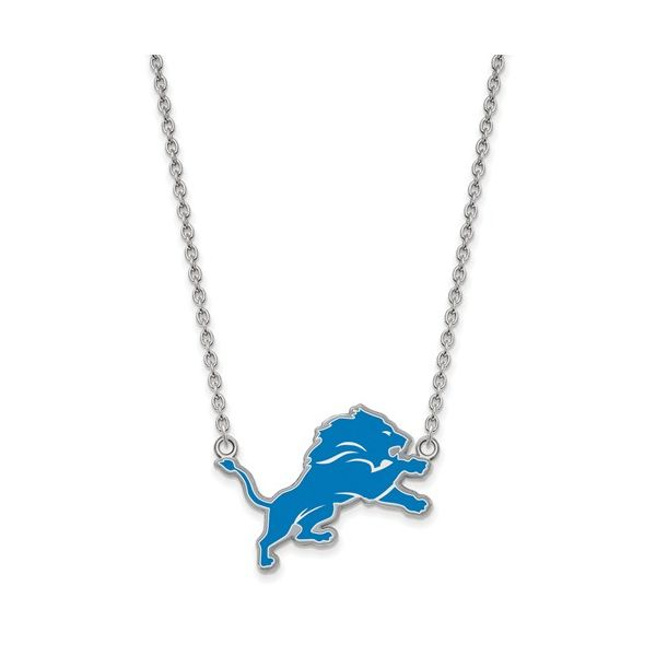 Sterling Silver Detroit Lions Large Enamel Pendant With Necklace Robert Irwin Jewelers Memphis, TN