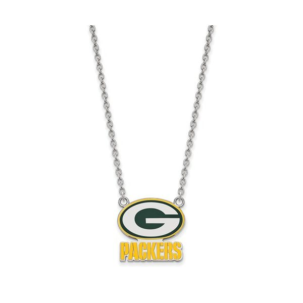 Sterling Silver Green Bay Packers Large Enamel Pendant With Necklace Robert Irwin Jewelers Memphis, TN
