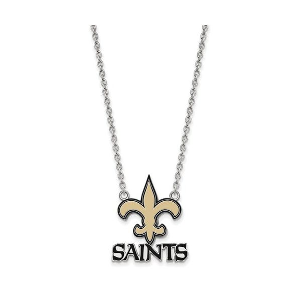 Sterling Silver New Orleans Saints Large Enamel Pendant With Necklace Robert Irwin Jewelers Memphis, TN