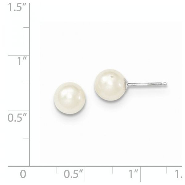 14k White Gold 7-8mm White Round FW Cultured Pearl Stud Earrings Image 2 Robert Irwin Jewelers Memphis, TN