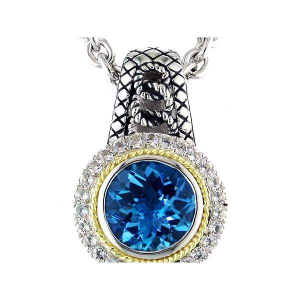 Andrea Candela Blue and White Topaz Necklace Storey Jewelers Gonzales, TX