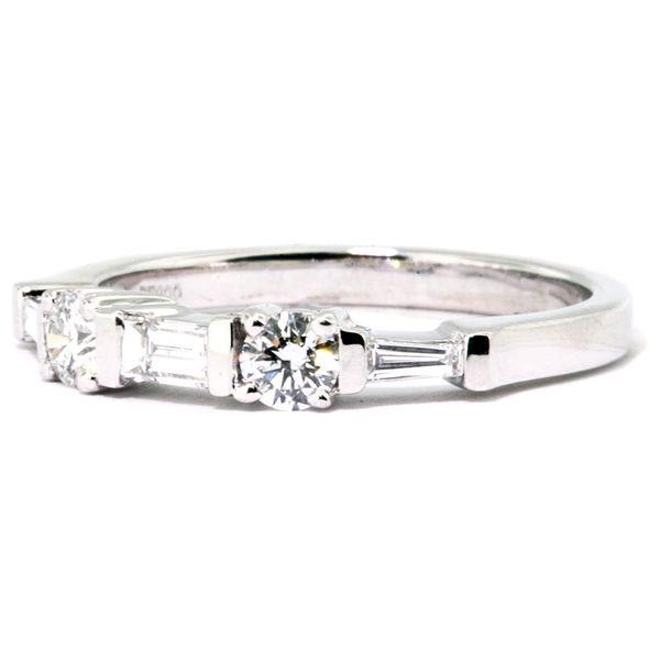 8a98d480f1996 Platinum Bar-Set Baguette & Round Diamond Wedding Band - 0.48cts
