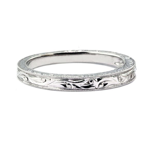 2.5 mm Platinum Engraved Wedding Band