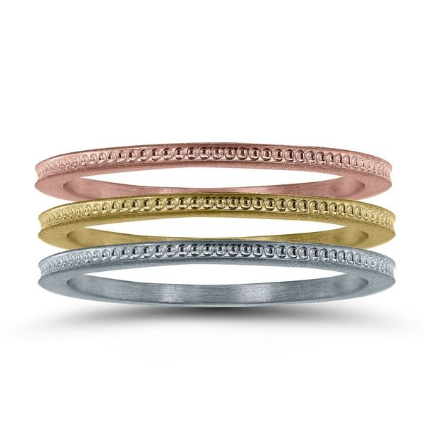 14KY 1mm Stackable Textured Band