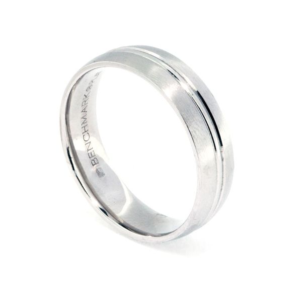 6mm Platinum Polish & Brushed Edge Band - image 2