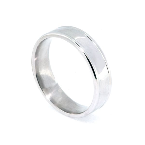 6mm Platinum High Polish Band w/raised edge - image 2