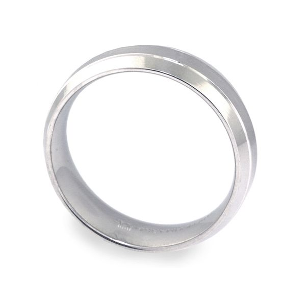 7mm Plat Bevel Edge 2-Cuts Brushed Center Wedding Band - image 2