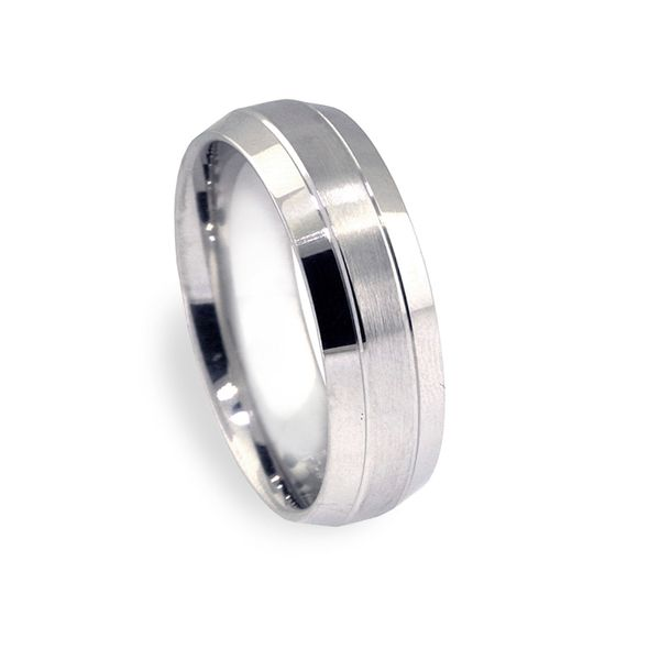 7mm Plat Bevel Edge 2-Cuts Brushed Center Wedding Band