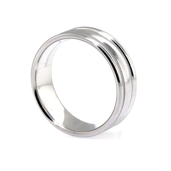 7.5mm Plat Bold RE Milgrain High Polish Wedding Band - image 2