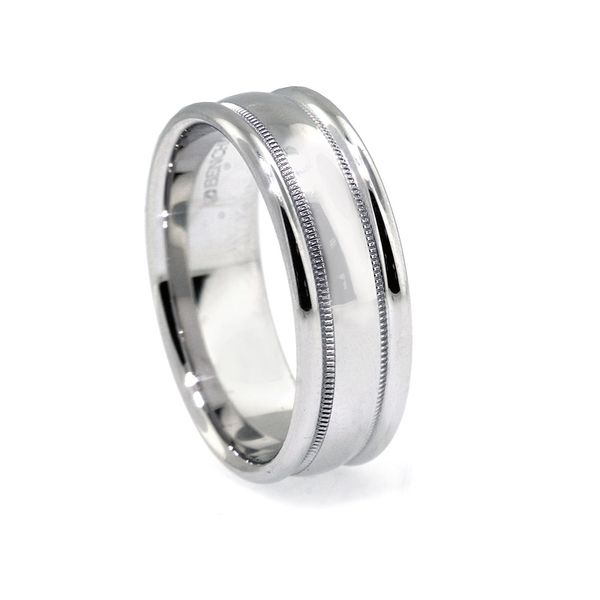 7.5mm Plat Bold RE Milgrain High Polish Wedding Band