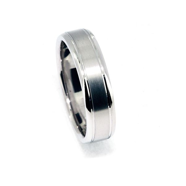 Plat Men's 6mm Brushed Ctr polished edge