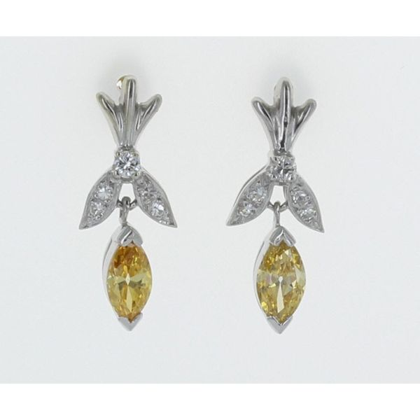 Yellow Marquise Diamond Earrings .80ctw
