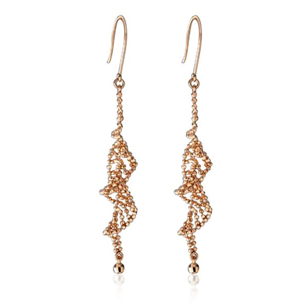 18kt Rose Gold Twist Leaf Earrings
