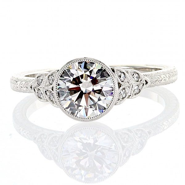 Edwardian Inspired Platinum Engraved Ring Washington Diamond Falls Church, VA