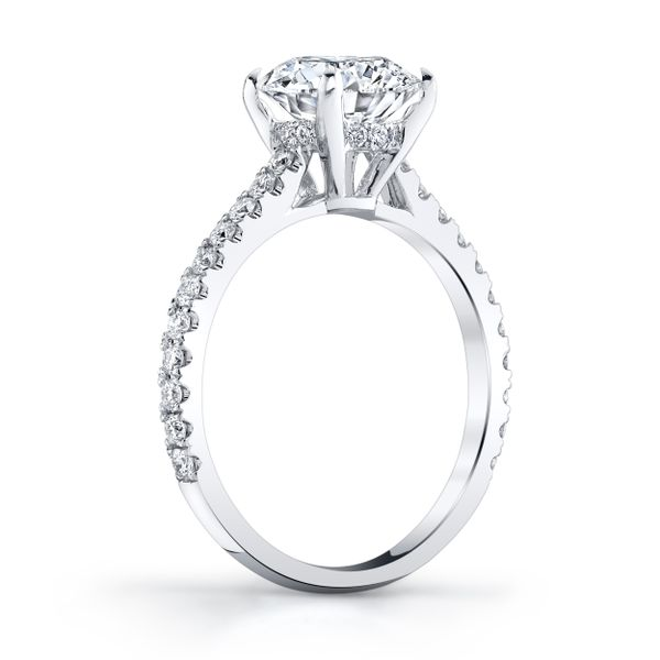 Platinum 900 Diamond Ring 34d=.39ct 4-prong - image 2