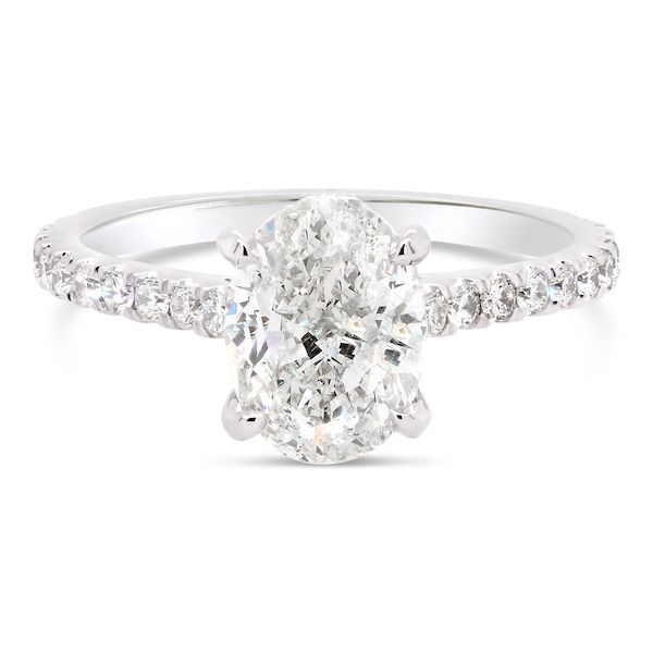 Platinum 900 Diamond Ring 34d=.39ct 4-prong - image 3